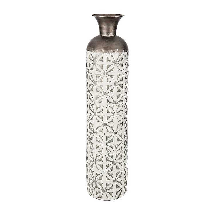 White Starburst Metal Vase Kirklands