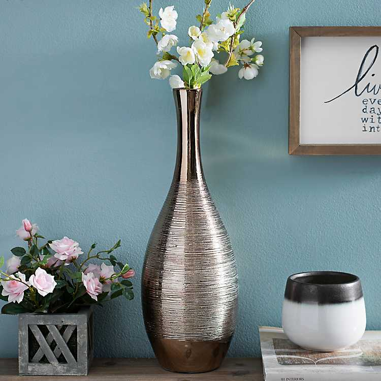 Spun Metallic Gold Ceramic Vase Kirklands
