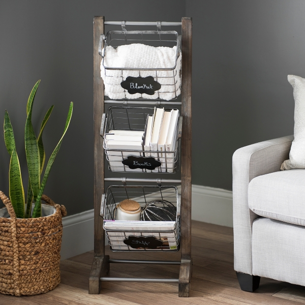 Attractive Wood and Metal Basket 3-Tier Stand | Kirklands XI35