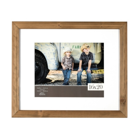 White Mat Rustic Wood Picture Frame, 16x20 | Kirklands