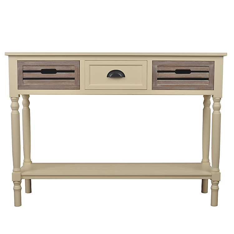 Delicieux Ivory Melody Natural Drawer Console Table ...