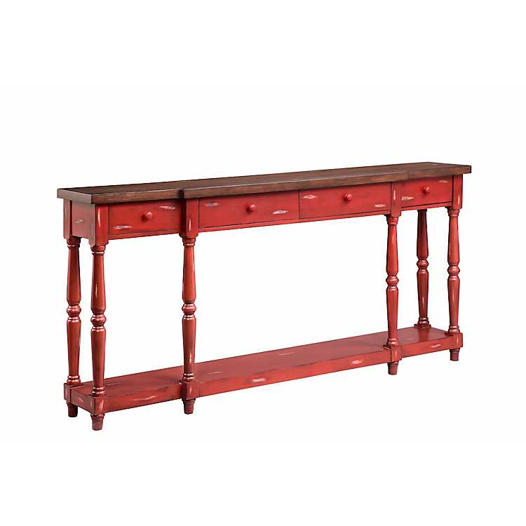 Miraculous Red Four Drawer Narrow Console Table Pabps2019 Chair Design Images Pabps2019Com