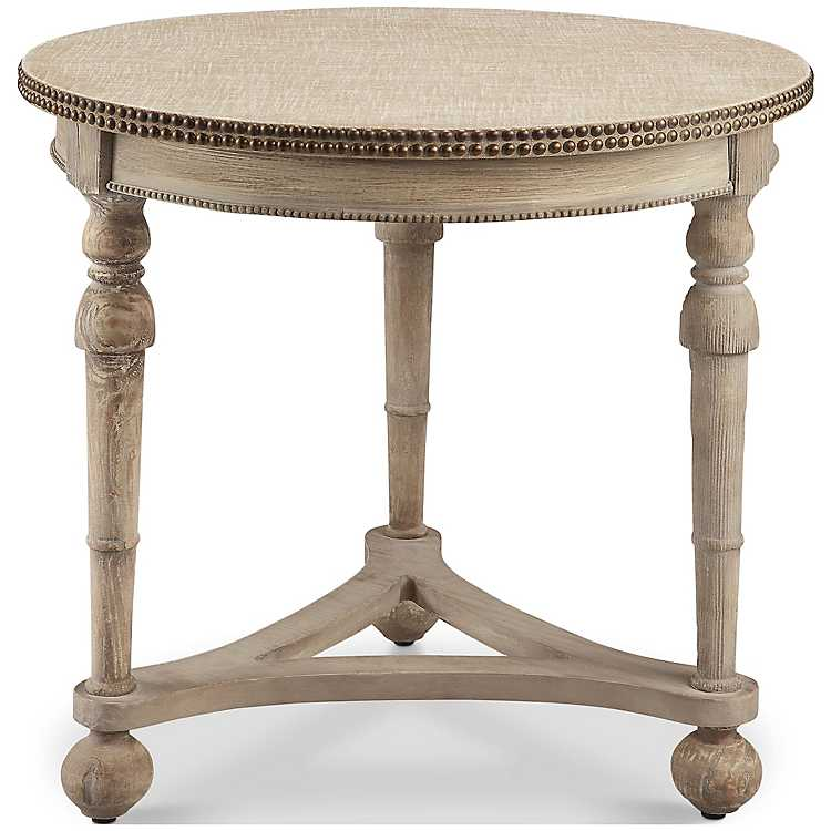 Fabric Top Nailhead Round Accent Table ...