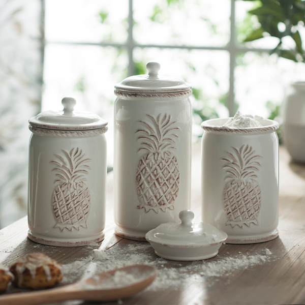 Set of 3 Cream Pineapple Canisters