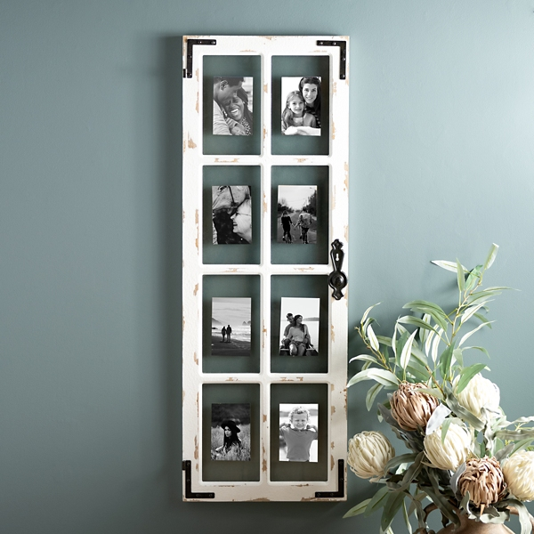 Distressed Wood and Metal Windowpane Collage Frame