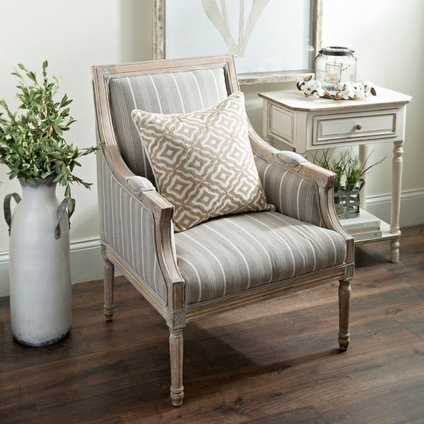 McKenna Taupe Stripe Accent Chair Kirklands