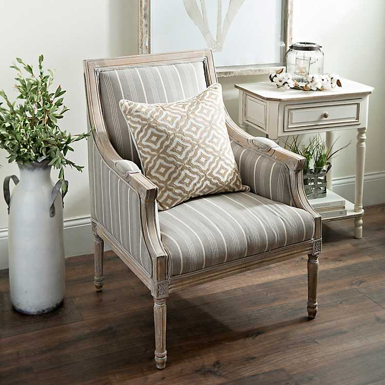 Taupe Accent Chairs.Product Details Mckenna Taupe Stripe Accent Chair