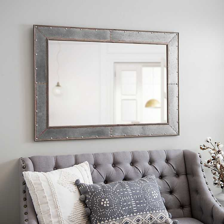 large decorative plates for the wall.htm industrial galvanized wall mirror kirklands  industrial galvanized wall mirror