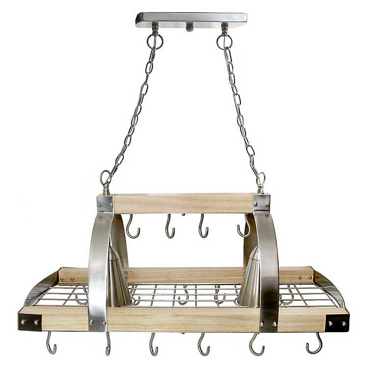 Wood And Metal Hanging Pot Rack With