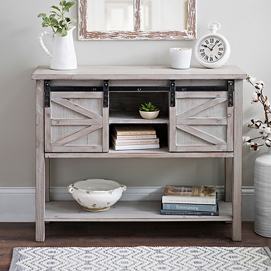 Console tables entryway tables kirklands sliding door farmhouse console table watchthetrailerfo