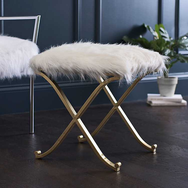 Pleasing White Fur And Gold Ottoman Alphanode Cool Chair Designs And Ideas Alphanodeonline