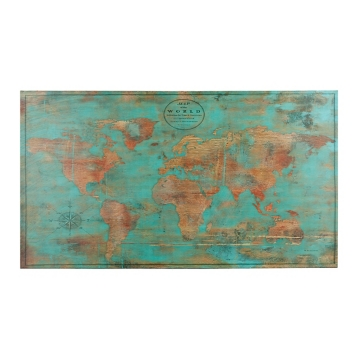 Turquoise and gold world map canvas art print kirklands sciox Images