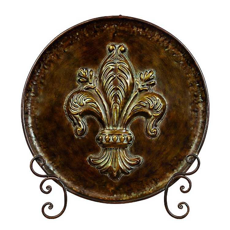 Bronze Scroll Fleur De Lis Plate And