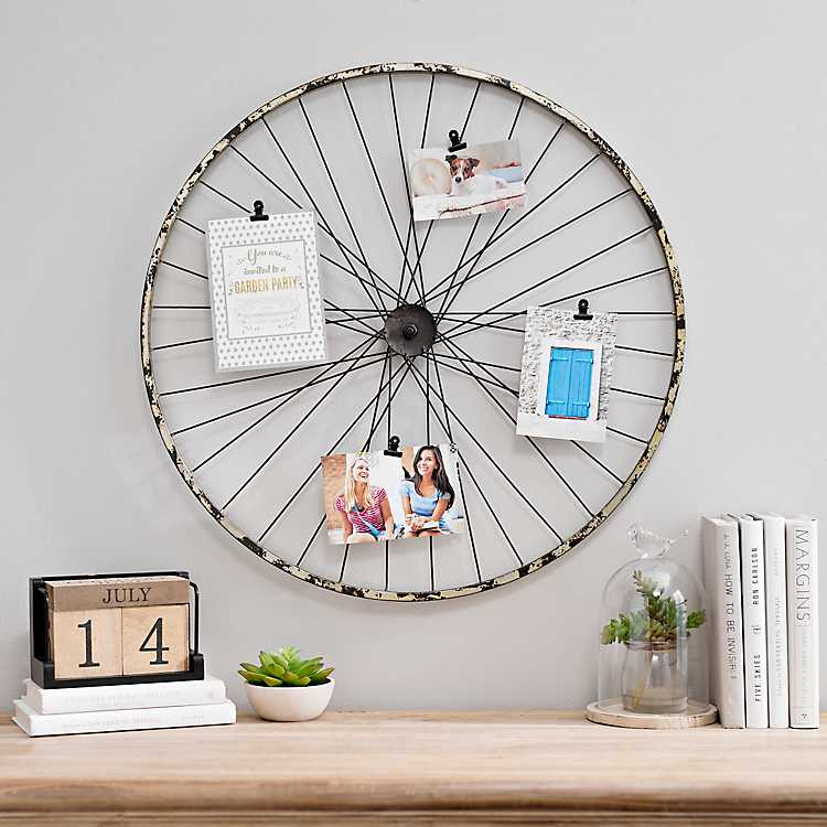 Rustic Bicycle Wheel Collage Frame with Clips | Kirklands