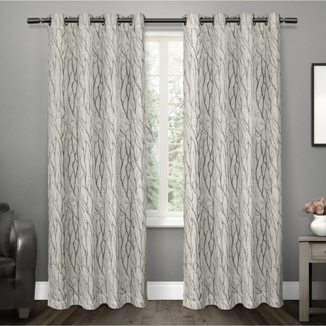 Oakdale Gray Branches Curtain Panel Set 96 In