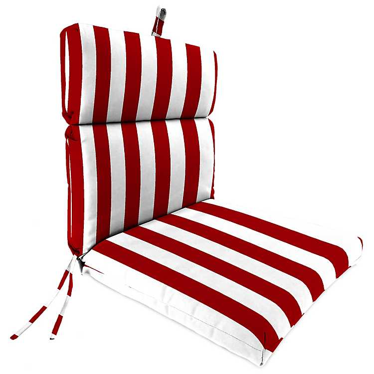 Classic Stripe Red Outdoor Dining Chair Cushion ...