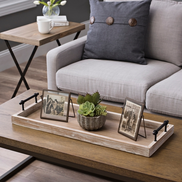 Wooden Decorative Tray With Metal Handles