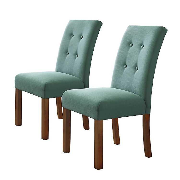 Button Tufted Aqua Parsons Chairs, ...