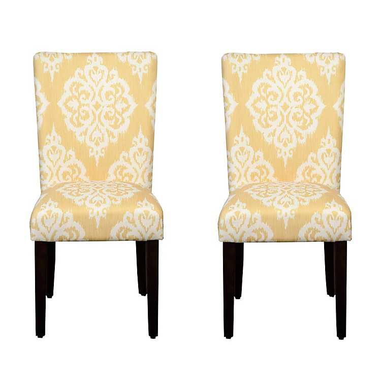 Attrayant Yellow And Cream Damask Parsons Chairs, ...