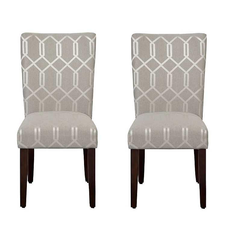 Beau Pewter Gray Lattice Parsons Chairs, ...