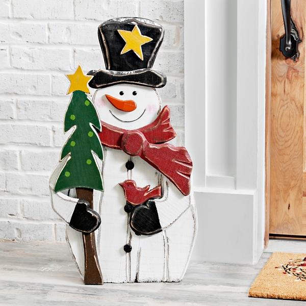 Wooden Snowman With Tree Outdoor Statue 30 In Kirklands