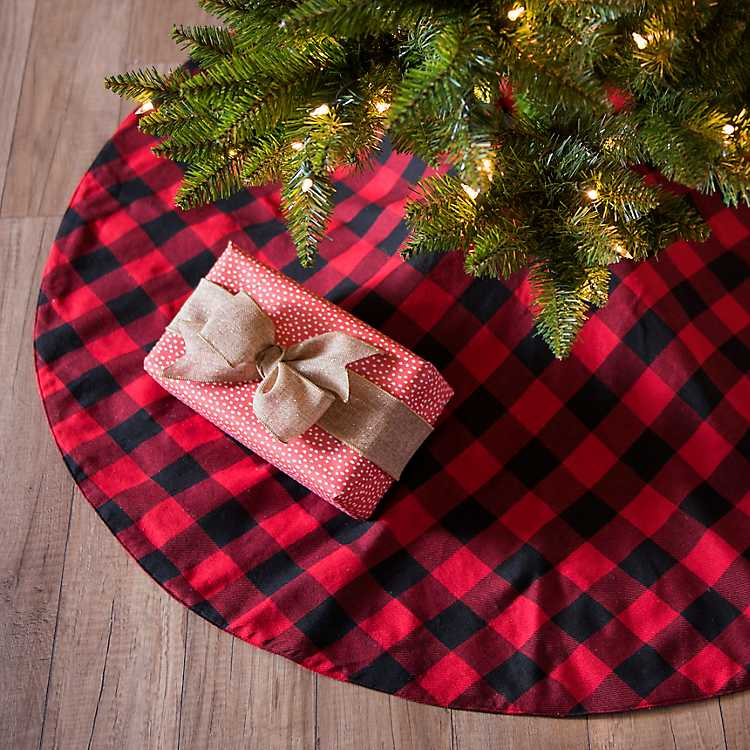 red and black buffalo check tree skirt