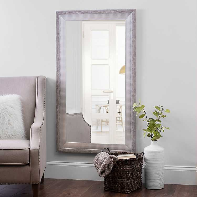 White And Silver Foil Wall Mirror 31 5x55 5 In