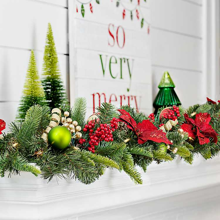 Pre-Lit Gold and Red Poinsettia Garland | Kirklands