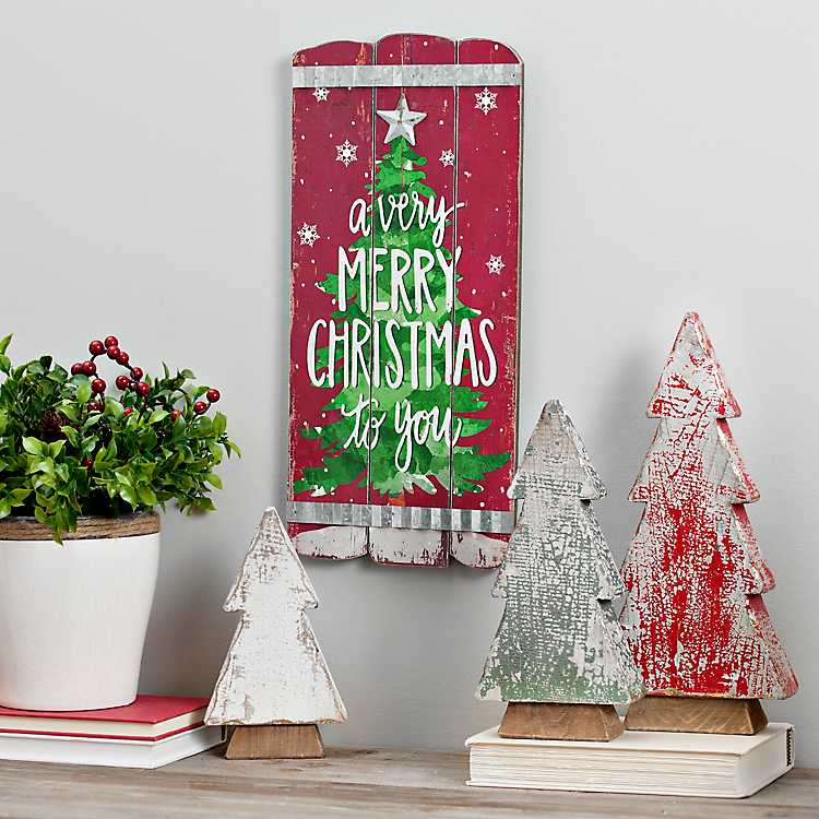 Merry Christmas Wooden Plank Wall Plaque | Kirklands