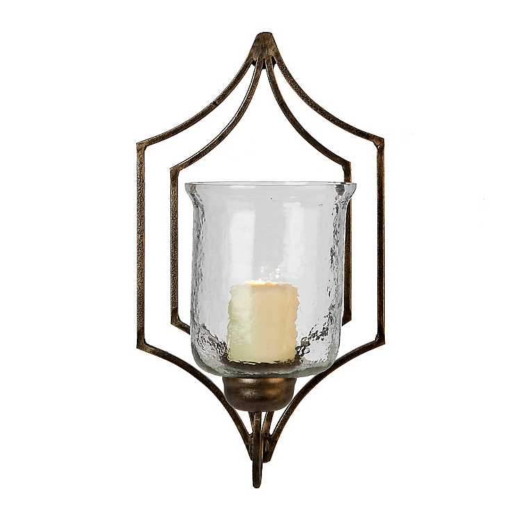 Gold Metal And Clear Glass Wall Sconce Kirklands