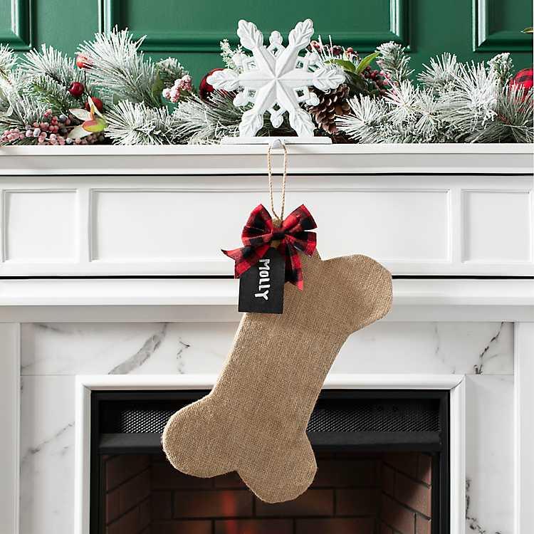 Dog Bone Christmas Stocking.Fabric Tan Dog Bone Personalized Stocking