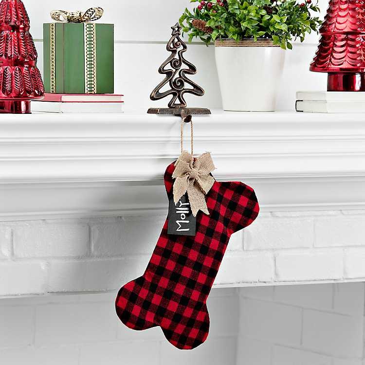 Dog Christmas Stocking.Fabric Plaid Dog Bone Personalized Stocking