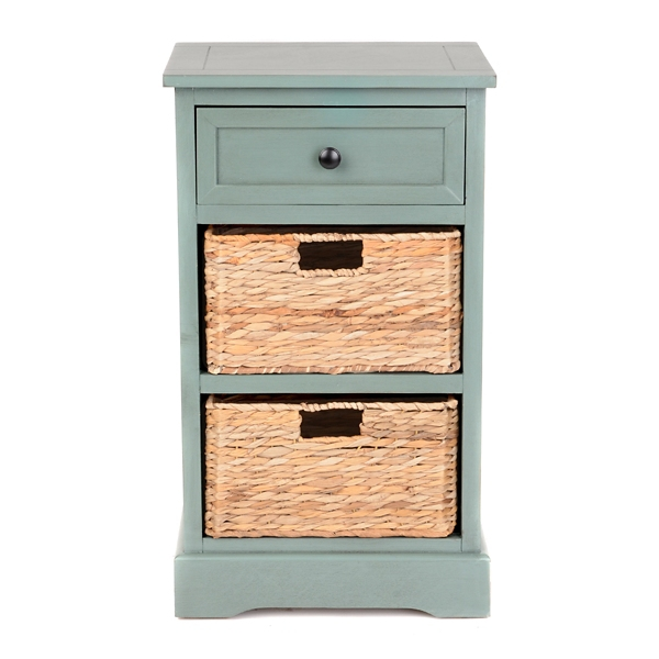 Blue Gray 3 Drawer Storage Chest With Baskets