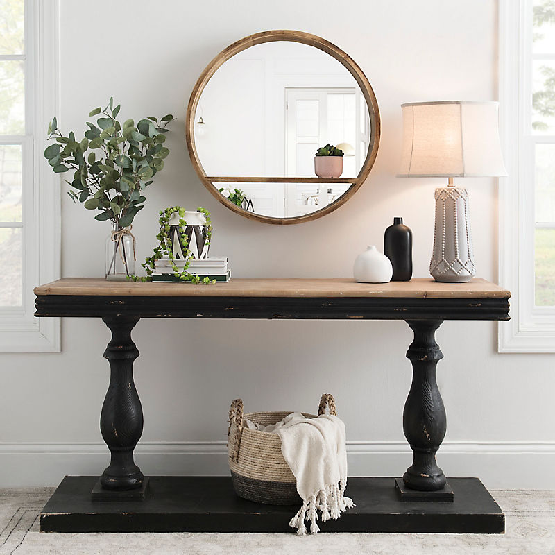 Distressed Black Double Pedestal Console Table