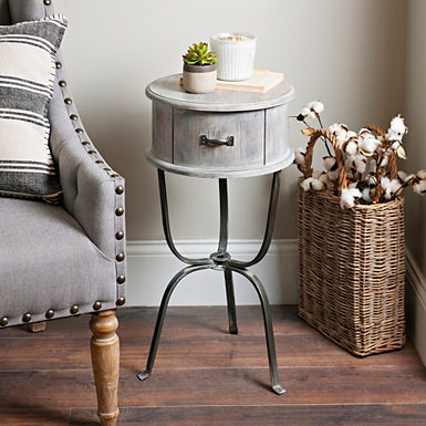Distressed Graywashed Round Accent Table