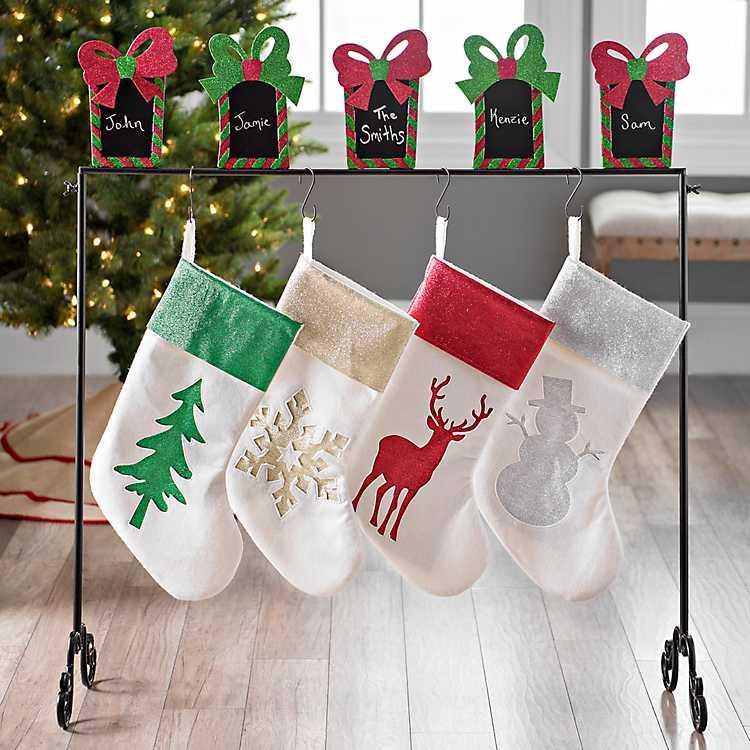 Christmas Stocking Holder.Chalkboard Glitter Presents Stocking Holder