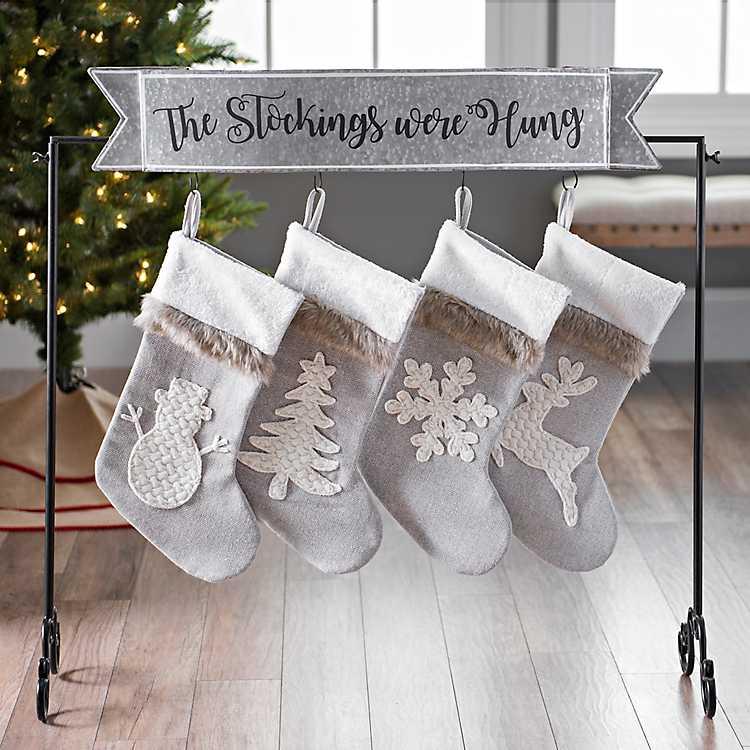 Gray Christmas Stockings.Galvanized Stockings Were Hung Stocking Holder