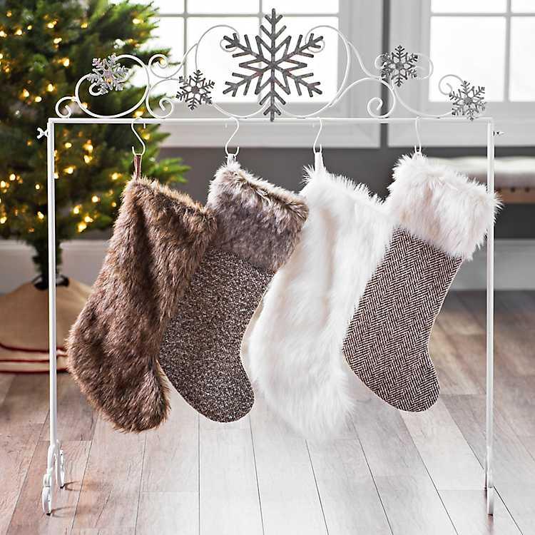 Christmas Stocking Holder.Galvanized Snowflakes Stocking Holder
