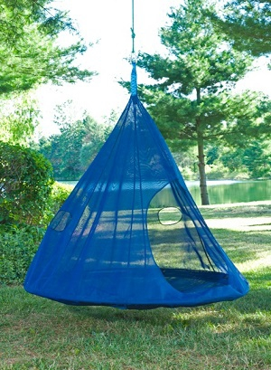& Dark Blue Teardrop Hanging Chair | Kirklands
