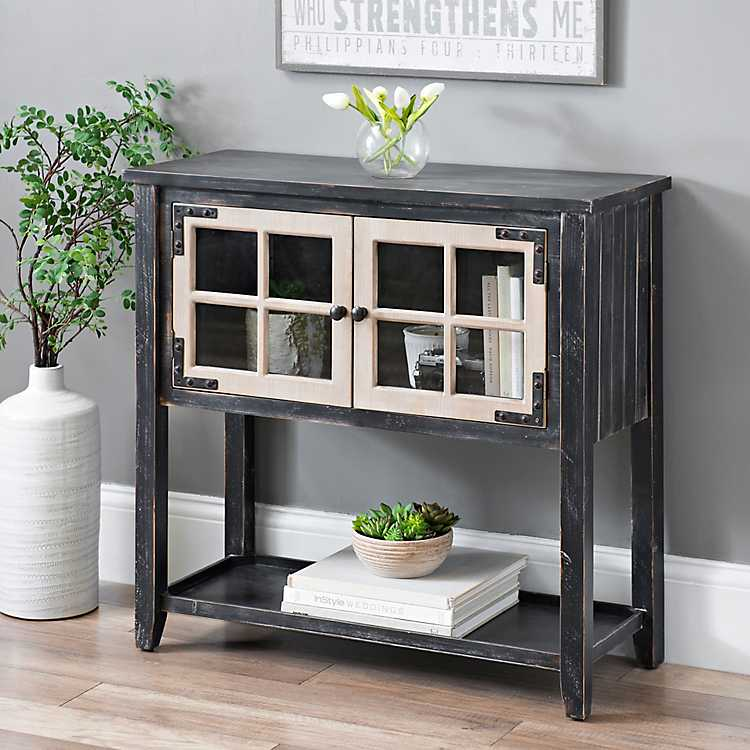Distressed Black Windowpane Console Table ...
