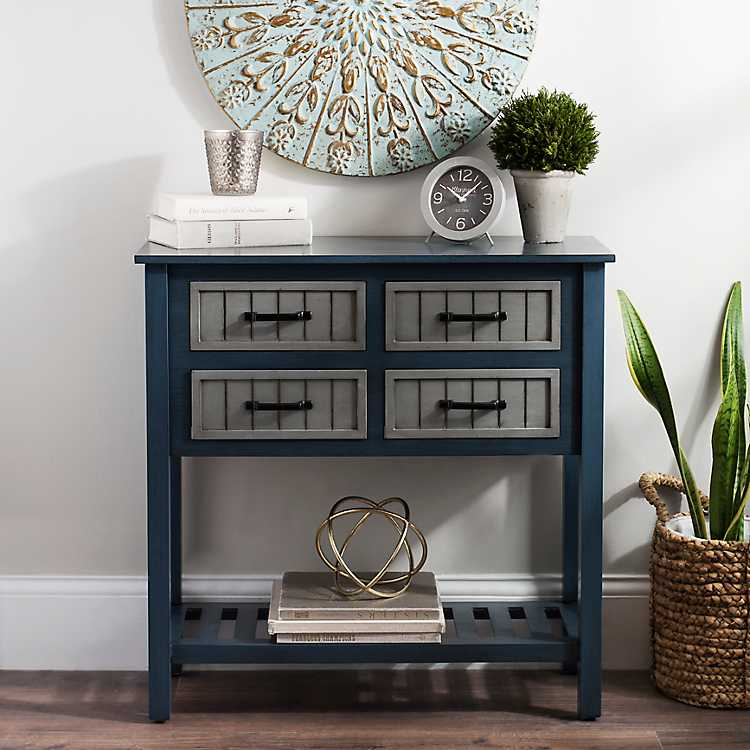 Blue And Gray Beadboard 4 Drawer Console Table ...