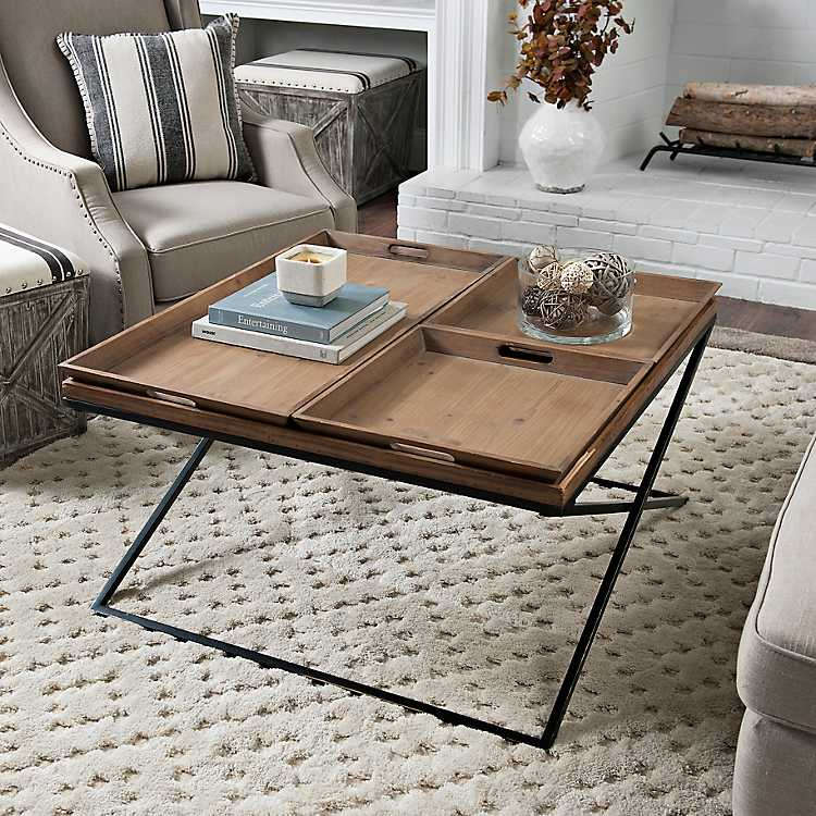 X Frame Wood And Metal Coffee Table With Trays ...