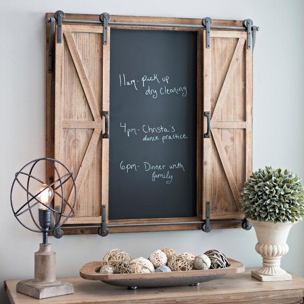 & Rolling Barn Door Chalkboard Wall Organizer | Kirklands
