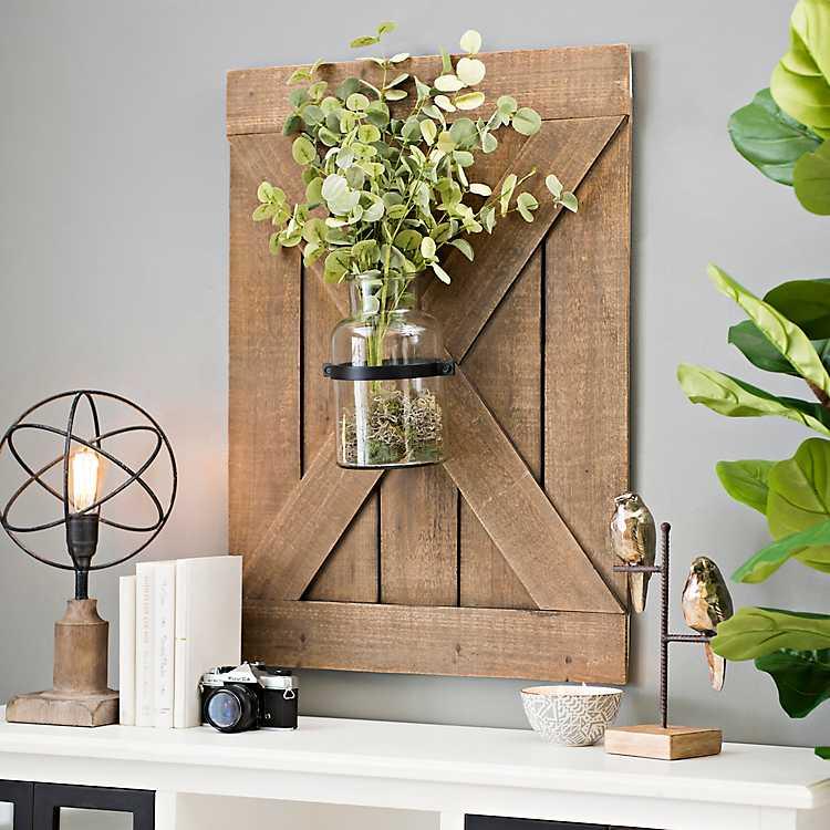 Barn Door Wall Plaque With Glass Vase Kirklands