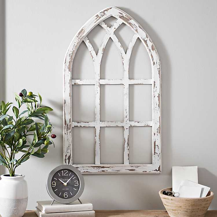 Antiqued White Window Pane Arch Plaque Kirklands