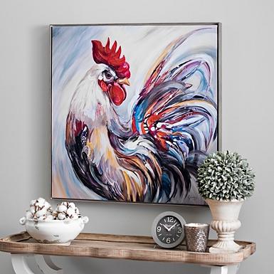 Rooster Framed Canvas Art Print Kirklands