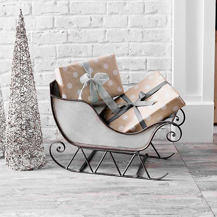 Outdoor Christmas Sleigh For Sale.Galvanized Metal Christmas Sleigh