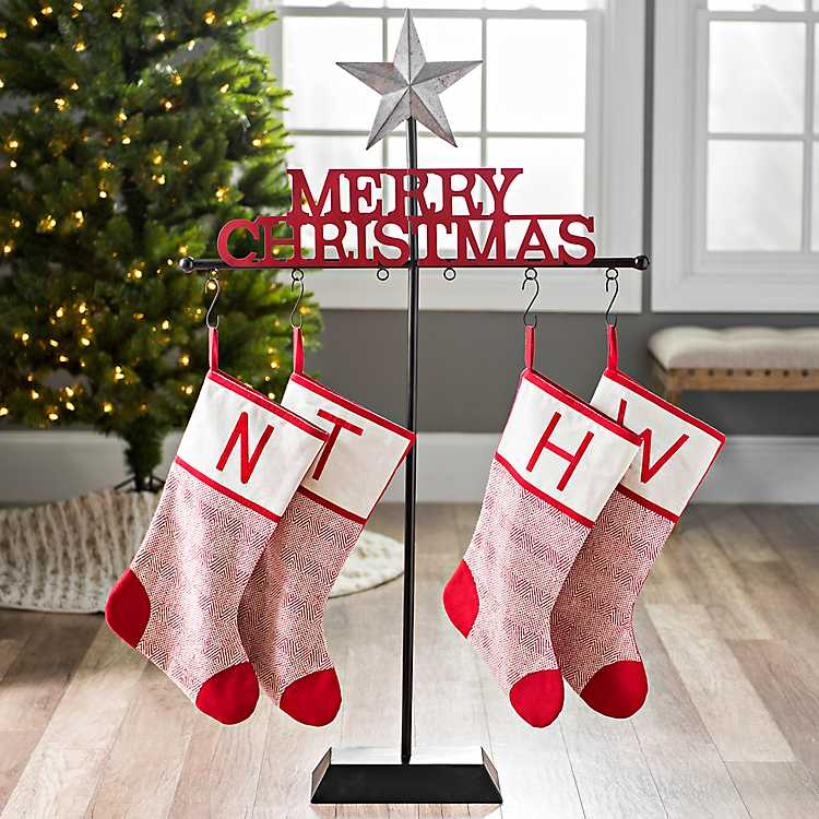 Christmas Stocking Holder.Galvanized Star Merry Christmas Stocking Holder