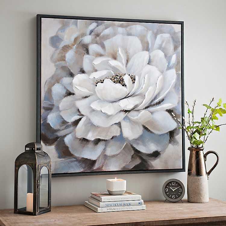 Square White Tulip Glass Print Wall Art Picture Delicate Fine Flower Design