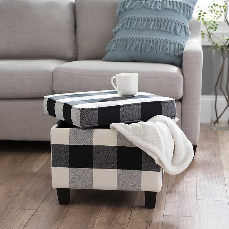 Enjoyable Black And White Buffalo Check Storage Ottoman Bralicious Painted Fabric Chair Ideas Braliciousco